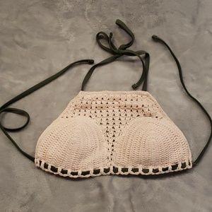 Exhilaration crocheted bathing suit halter top